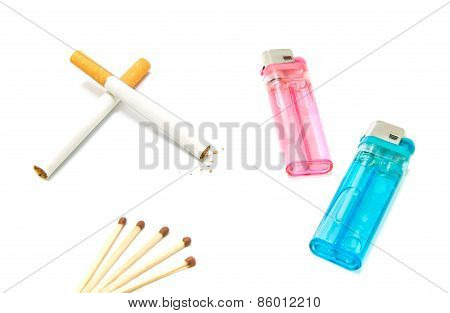 Two Cigarettes And Lighters With Matches