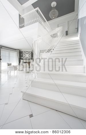 White Staircase In Expensive House