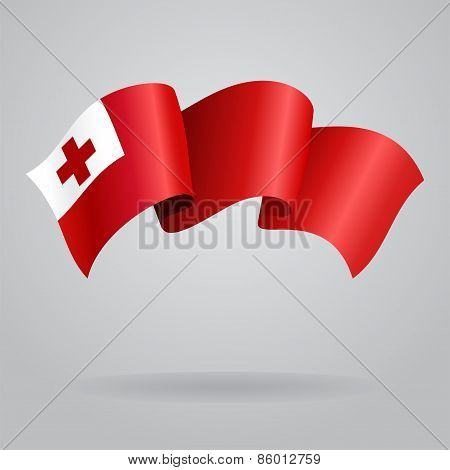 Tonga waving Flag. Vector illustration