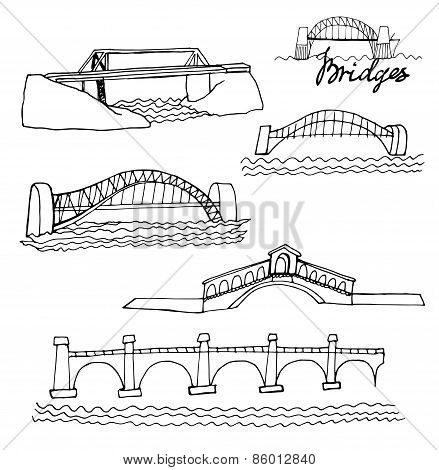 sketches of bridges, isolated on a white