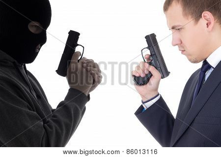 Good Vs Evil Concept - Terrorist And Police Man With Guns Isolated On White