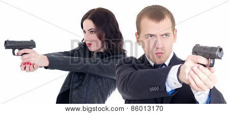 Man And Woman Shooting With Guns Isolated On White