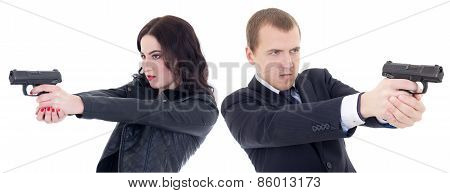 Young Beautiful Woman And Man Shooting With Guns Isolated On White