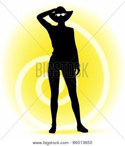 Tourist  Woman Silhouette With Handbag And Sunglasses