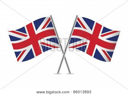 British flags. Vector illustration.