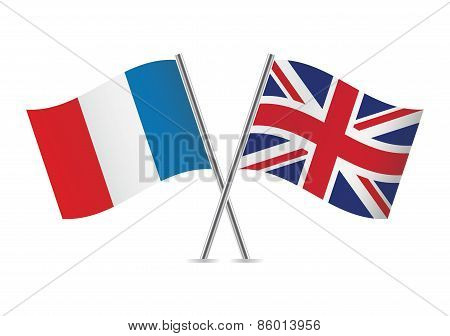 France and British flags. Vector illustration.