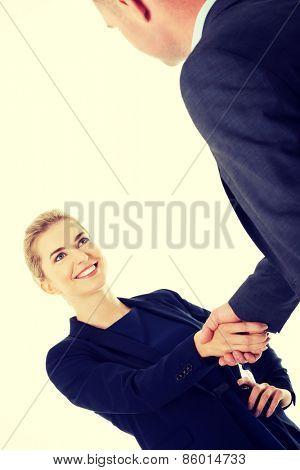 Handshake of two business people.