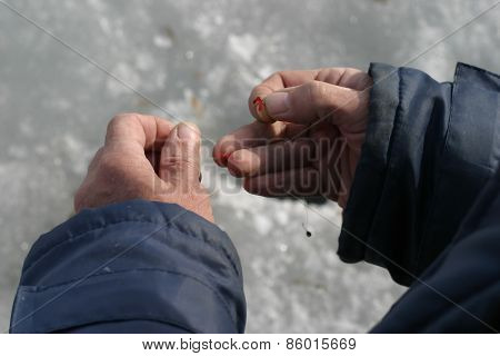 Hand With A Fishing Bait