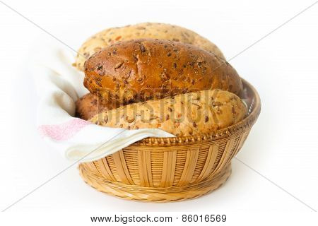 Bread  In The Basket Isolated On The White Background