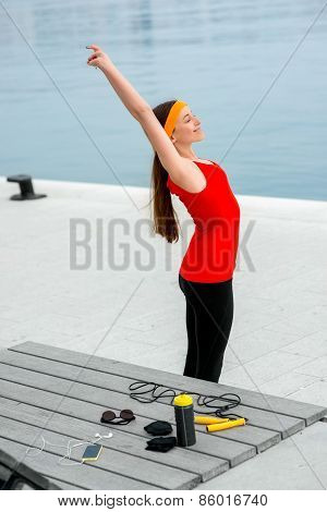 Woman having exercise