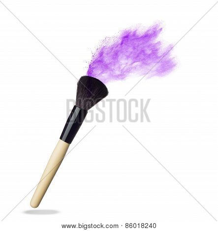 Make up brush with pink  powder  isolated on white
