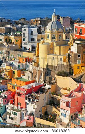 Italy. Procida Island. Colorful Houses Of Corricella