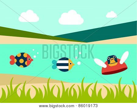 Summer Beach. Sea Cross Section. Fishes And Turtle. Flat Design.