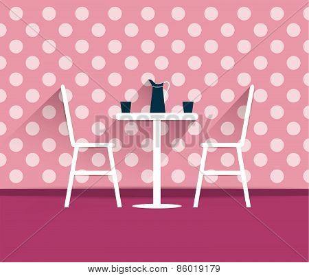 Coffee Shop Interior. Chairs And Table. Flat Design Vector.