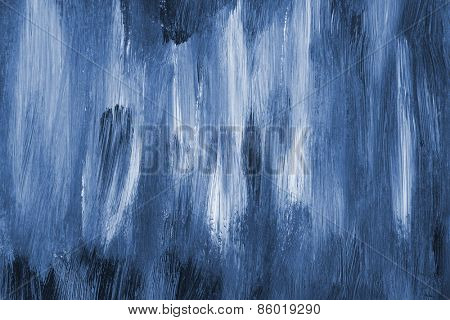 Closeup of blue and white paint strokes