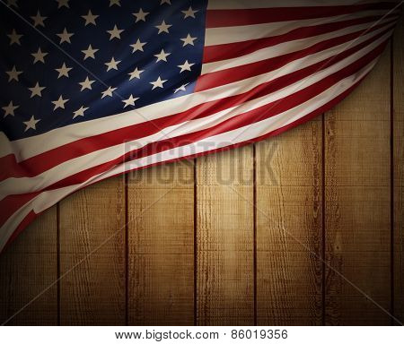 Closeup of American flag on wood