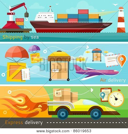 Shipping, delivery car, ship, plane