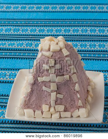 Traditional Easter Dessert From Cottage Cheese And Slices Of Coconut