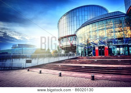 Strasbourg, France -european Court Of Human Rights Building