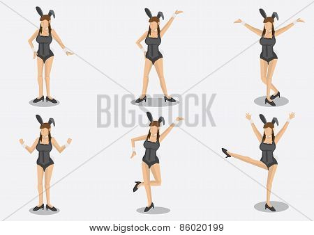 Sexy Bunny Girls Character Vector Illustration