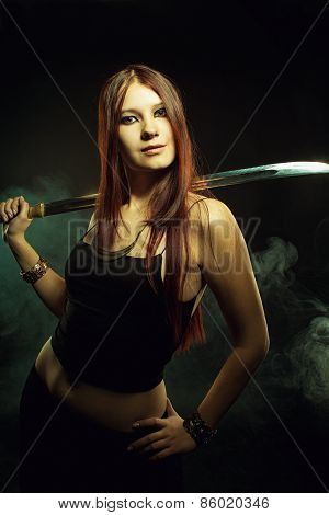 Serious Girl With Sword