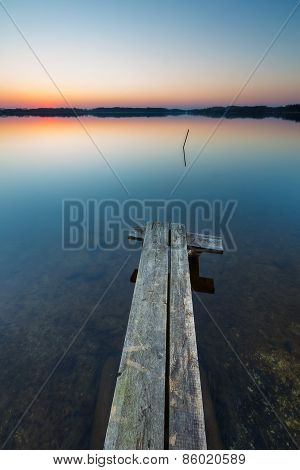 Lake Landscape At Sunset