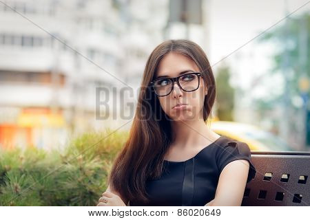 Urban Girl Feeling Upset and Alone