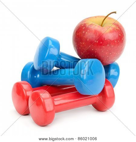 Set dumbbells and apple isolated on a white background