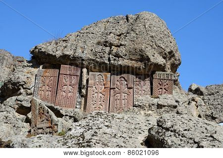 Khachkars (cross-stones) Of Geghard Monastery,medieval Christian Art,armenia, Caucasus, Unesco World