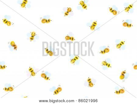 Vector seamless pattern of bees.
