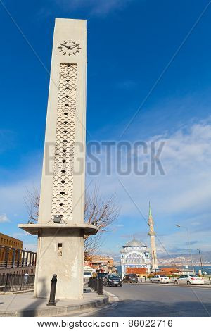 Modern Clock Tower And Fatih Camii, Izmir, Turkey