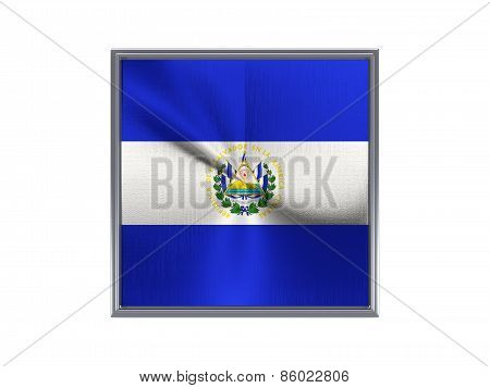 Square Metal Button With Flag Of El Salvador