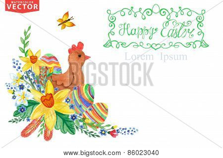 Easter Greeting card.Watercolor Spring floral group,eggs,chicken