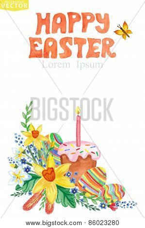 Easter Greeting card.Watercolor Spring floral group,eggs,cake