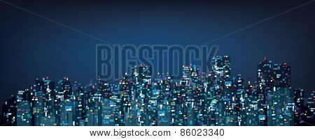 Vector  night city background.