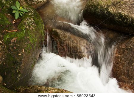 Water Cascade On The Mountin Stream