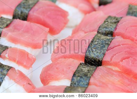 Detailed photo of tasty tuna nigiri sushi