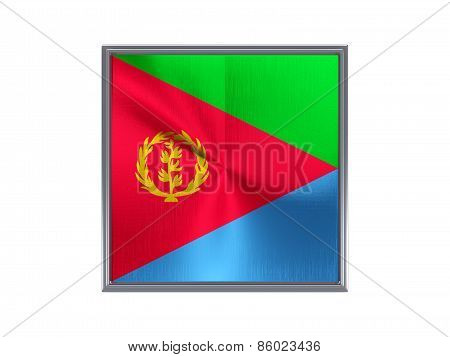 Square Metal Button With Flag Of Eritrea