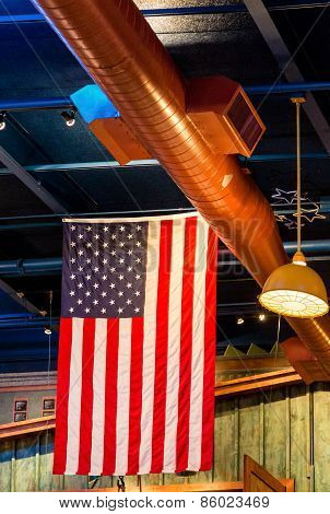 American Flag Hanging From Rafters
