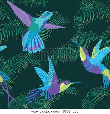 Hummingbird Background - Retro seamless pattern in vector