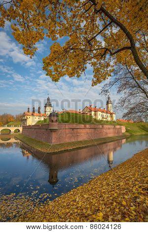 NIASVIZH, BELARUS - October 4, 2014: Medieval castle in Niasvizh, Belarus