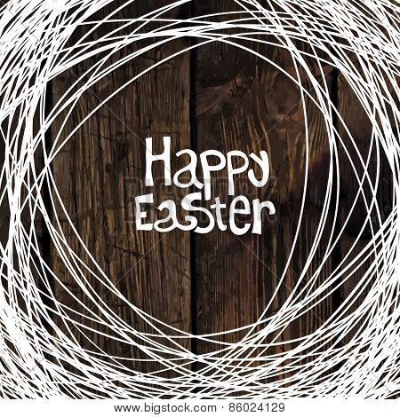 Happy Easter Greeting with Wooden Background