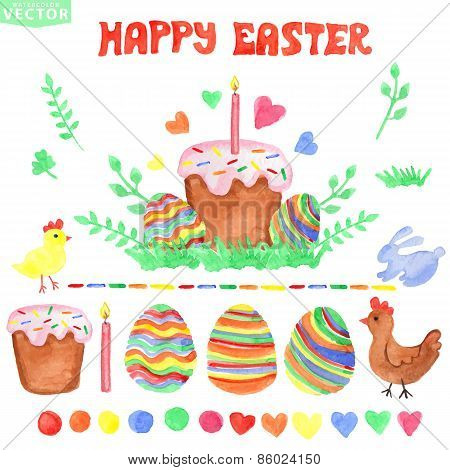 Easter  watercolor set.Isolated decor,clipart