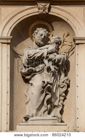 VIENNA, AUSTRIA - OCTOBER 10: Saint Joseph on baroque Jesuits church. The church was built between 1623 and 1627. in Vienna, Austria on October 10, 2014.