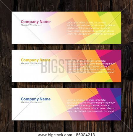 Abstract Web Banners with colorful cells and Wooden Background. Design Set