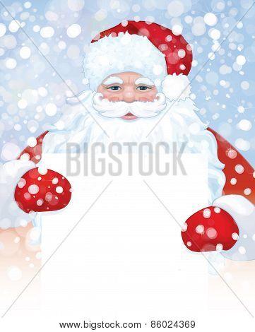 Vector Santa Claus holding a blank banner
