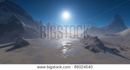 Frozen Mountain Lake In The Sun.