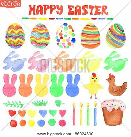 Easter  watercolor set.Cute Isolated decor clipart