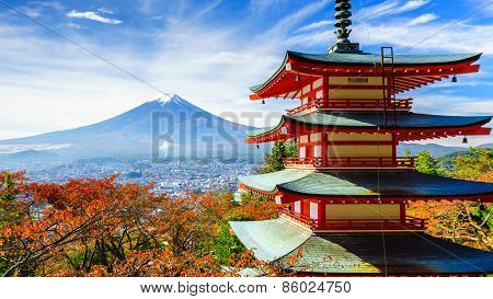 Mt. Fuji With Chureito Pagoda, Fujiyoshida, Japan