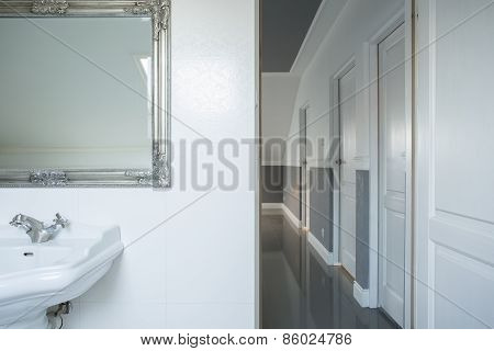 Bathroom Overlooking At Corridor